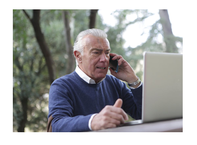 senior citizen calling about medicare information