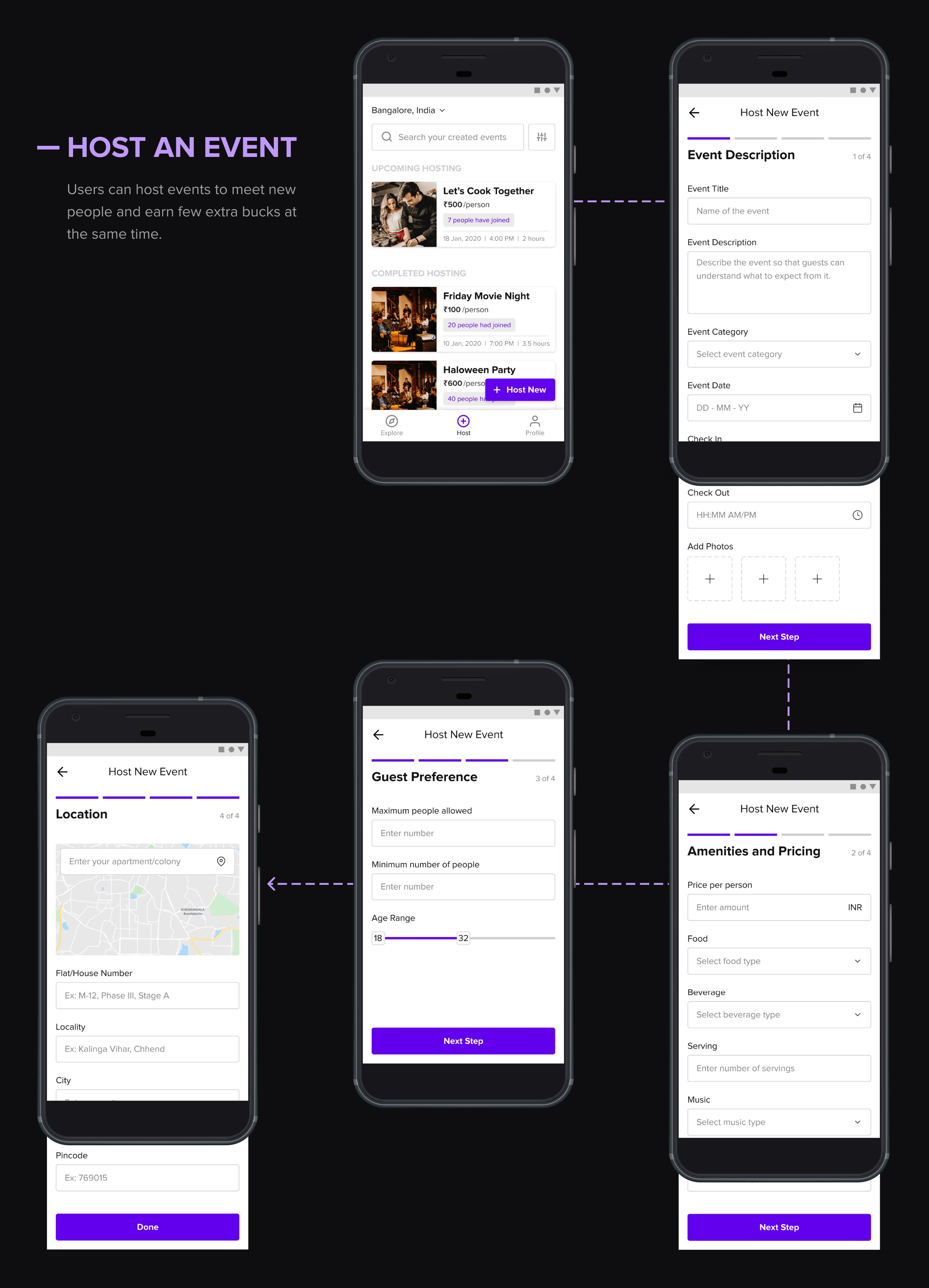 Hola app create event