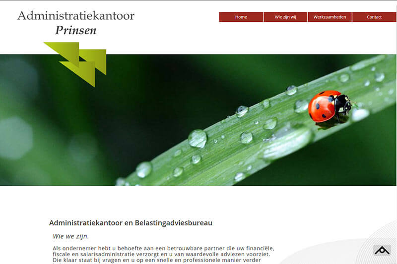 screenshot website admiistratiekantoor prinsen