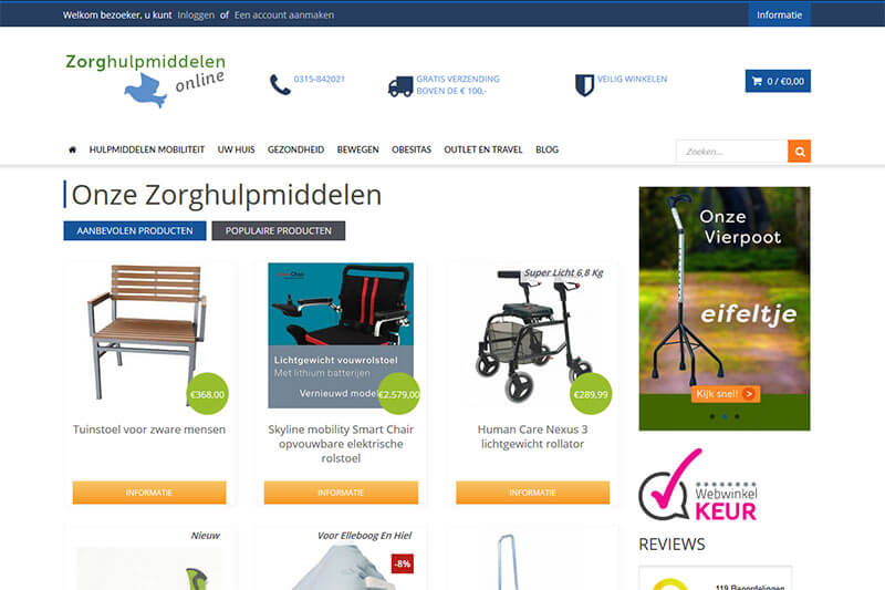 screenshot website zorghulpmiddelenonline