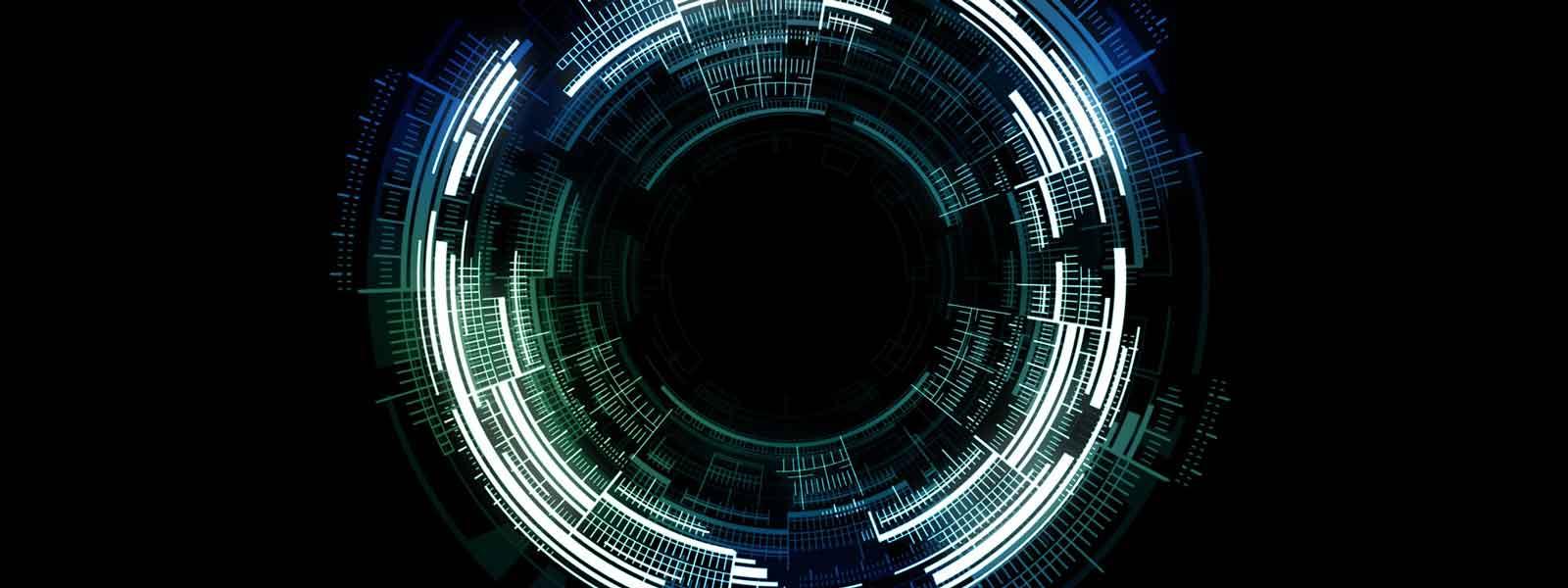 Grafische voorstelling van gekleurde ringen tegen een zwarte achtergrond.