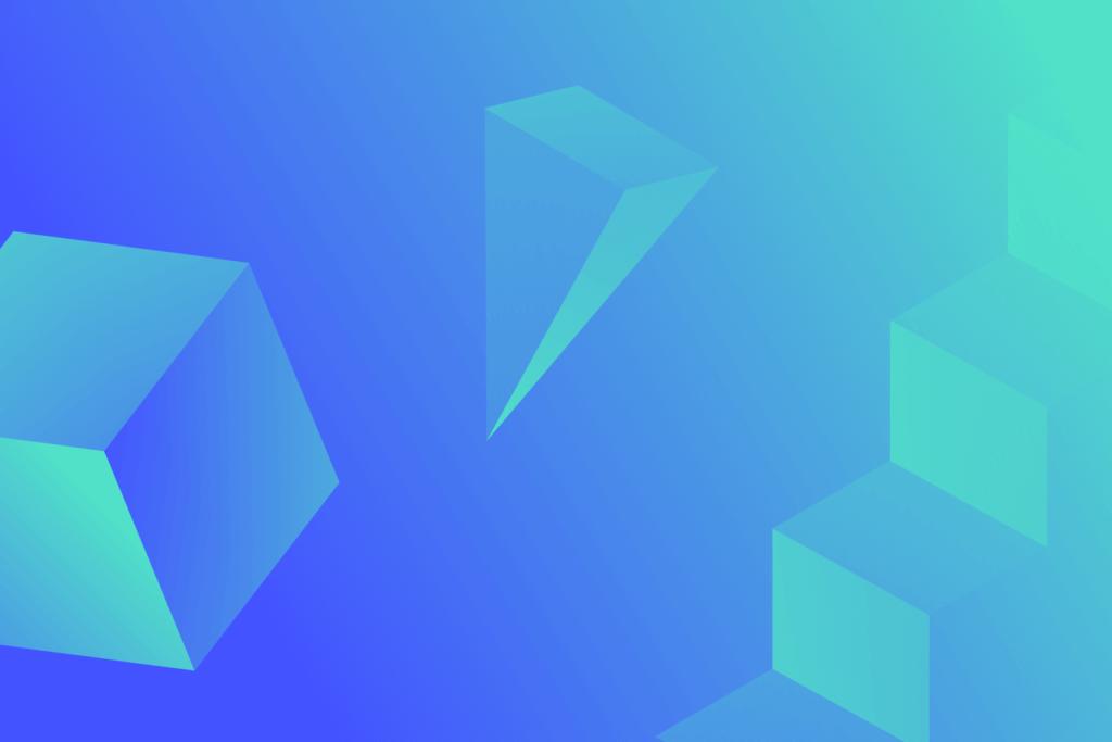 grafische figuren op een blauwe achtergrond