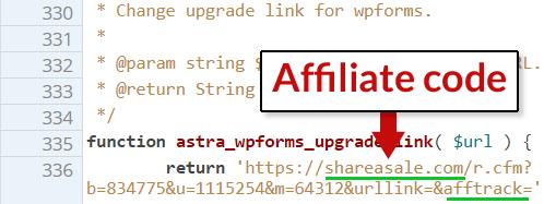 voorbeeld stukje code met affiliatie link