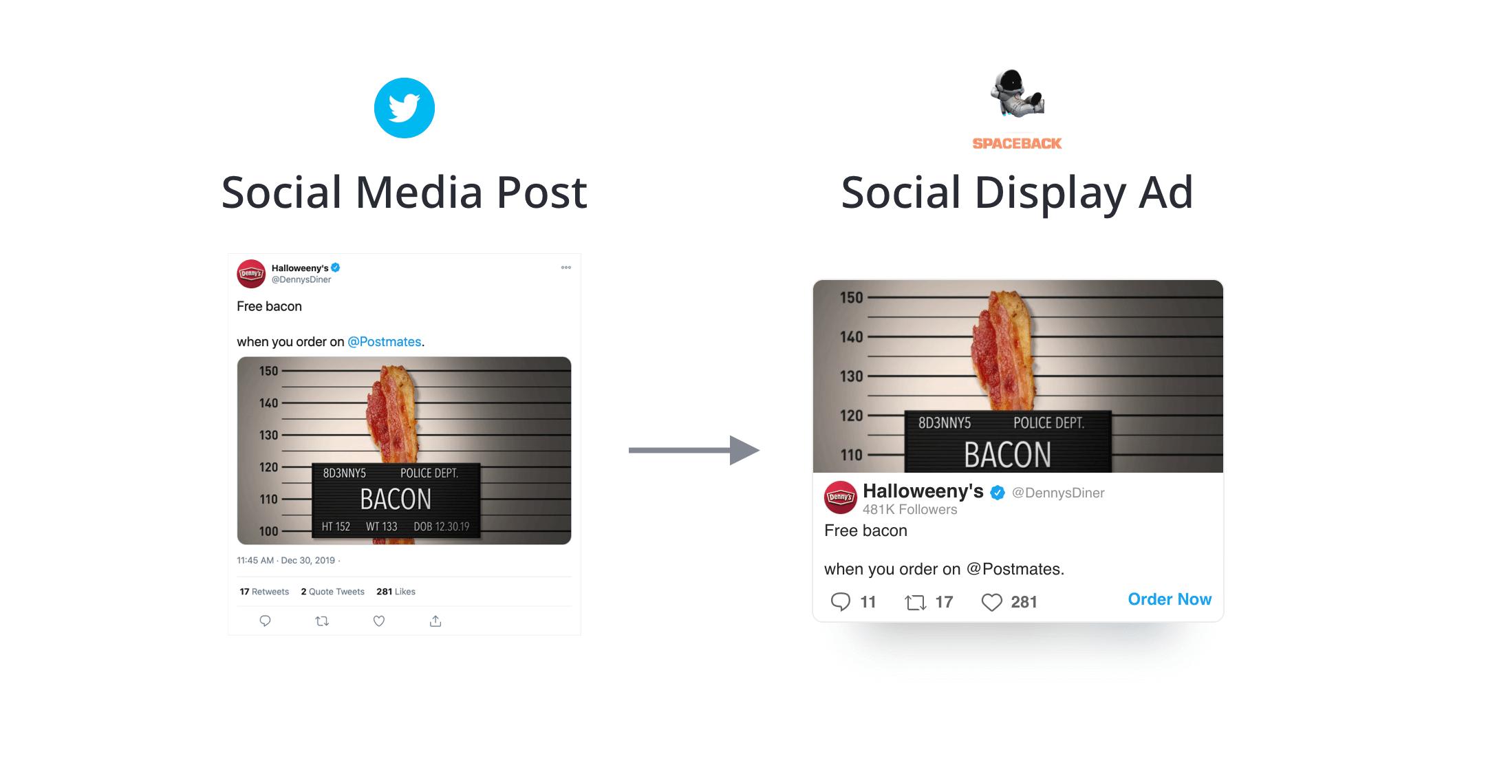 Denny's Twitter Spaceback Social Display Ad