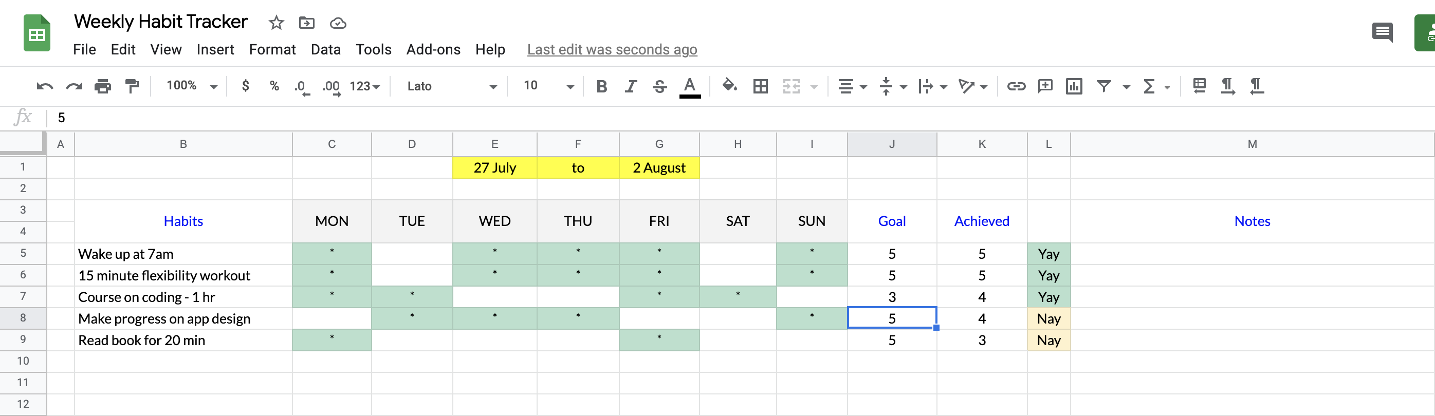 weekly habit tracker spreadsheet template