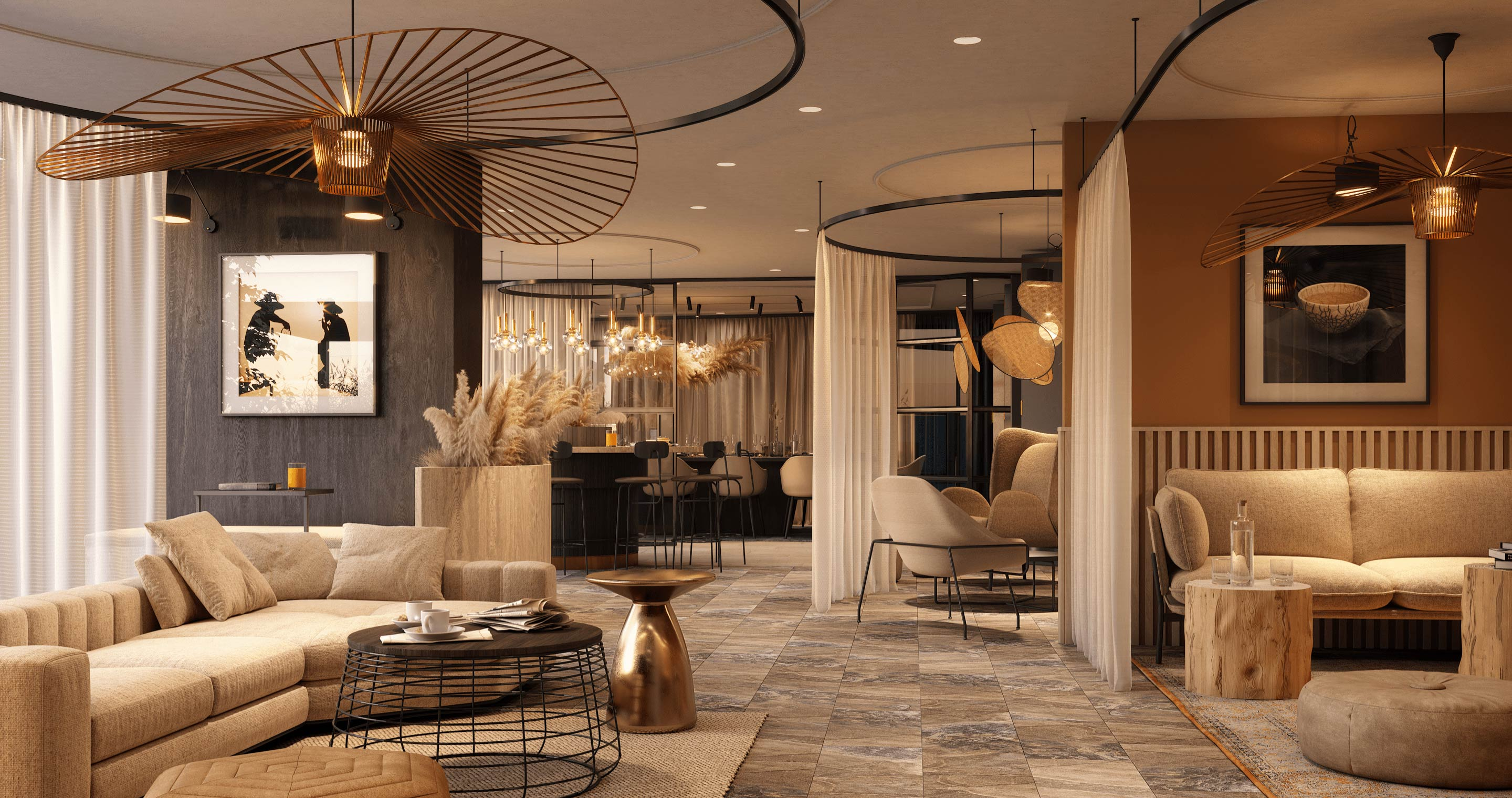An interior CGI rendering of the residents' lounge at Deansgate Square
