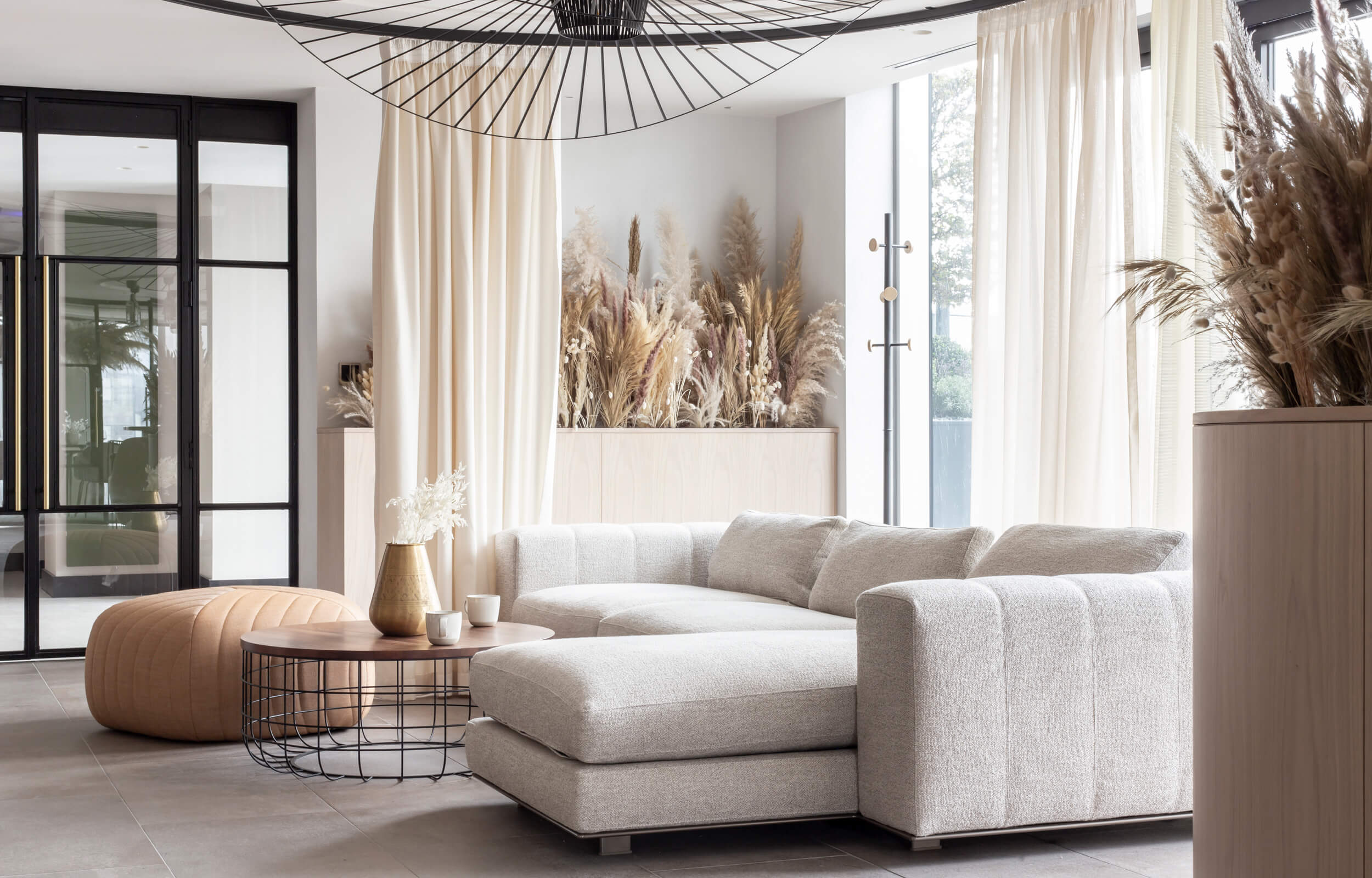 A light grey sofa in a lounge