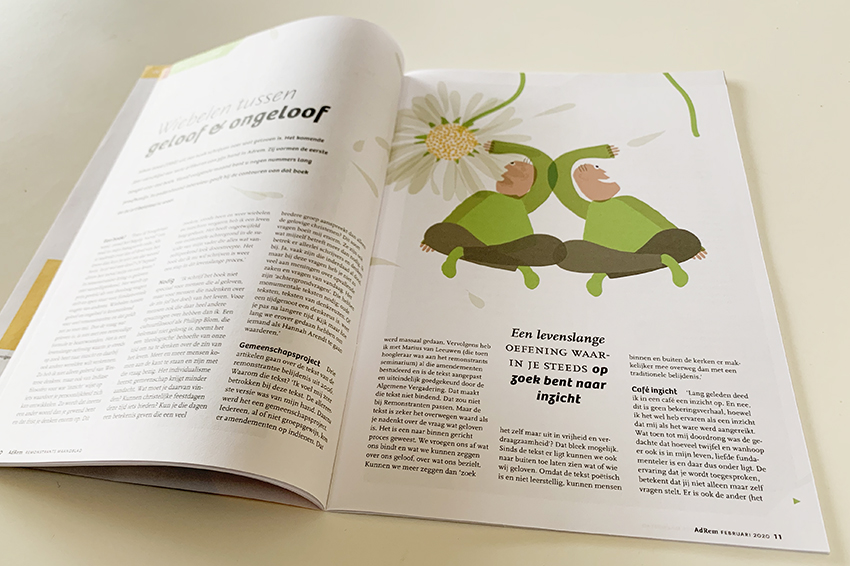 AdRem, tijdschrift van de Remonstranten, artikel met illustratie van Marjorie Specht (Ontwerpkantoor)