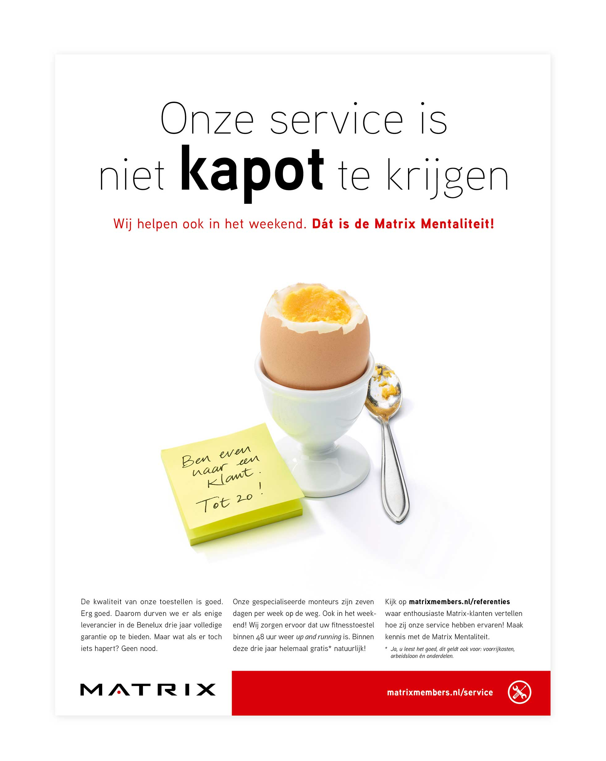 Service-advertentie Matrix, eitje!