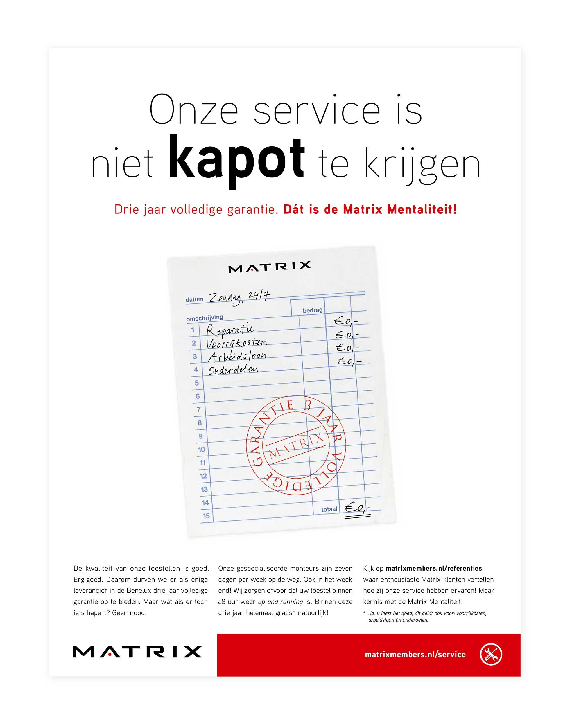 Service-advertentie Matrix, bonnetje: €0,-!!