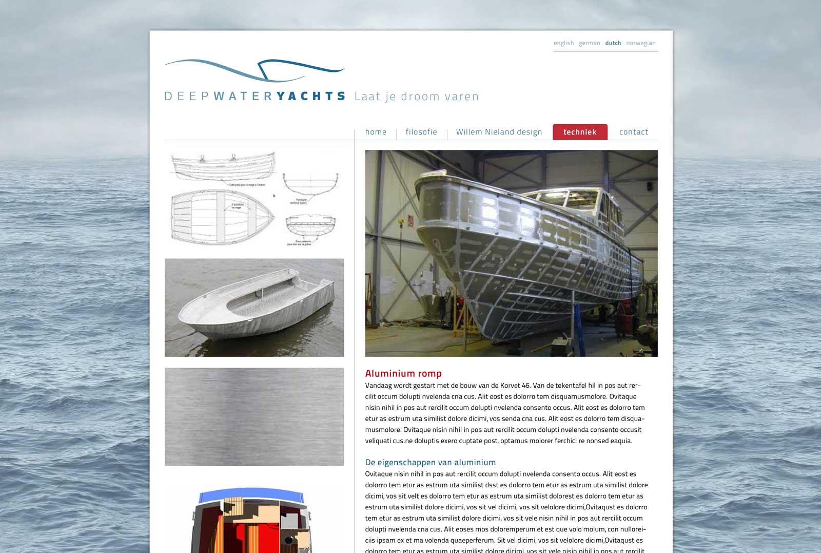 Ontwerp website Deep Water Yachts