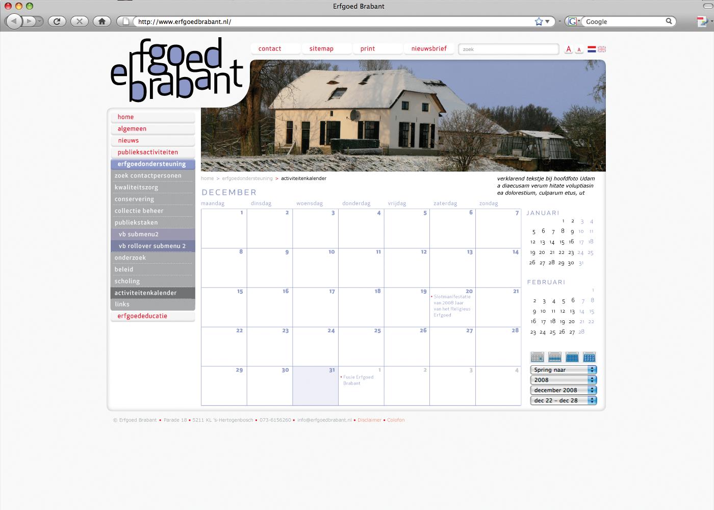 Ontwerp website Erfgoed Brabant