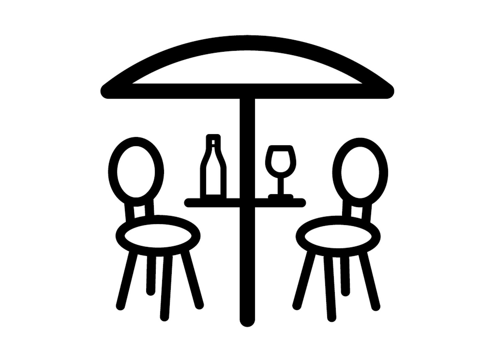 Icoon 'terrasje', getekend voor de website van City Mundo