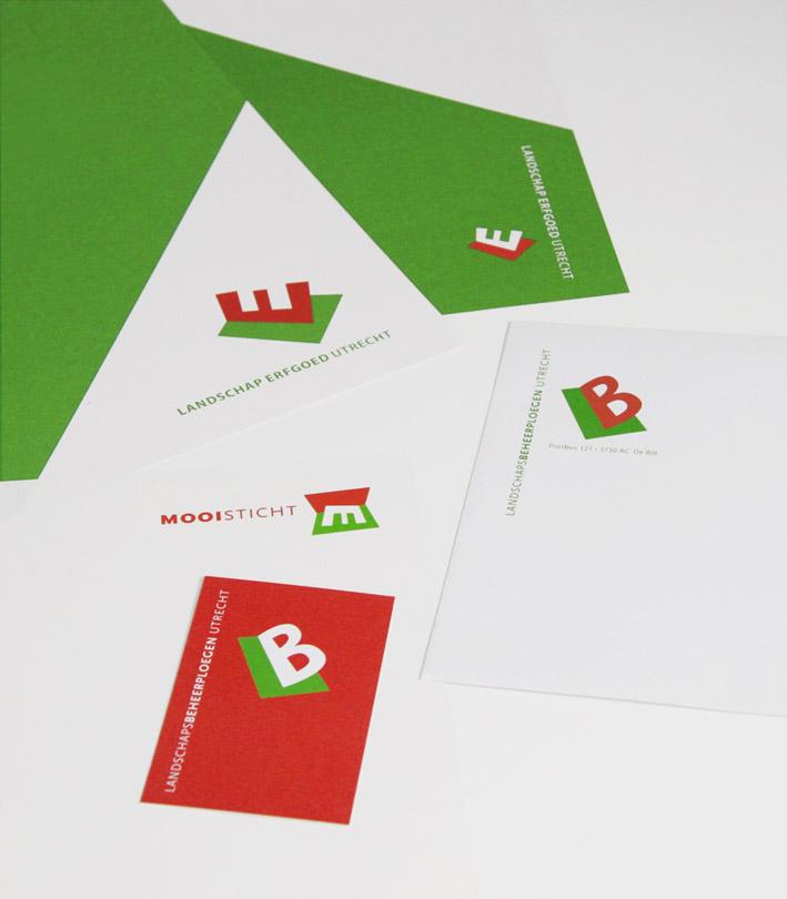 Drie verwante logo's bij elkaar: Landschap Erfgoed Utrecht, Mooisticht en LandschapsBeheerploegen