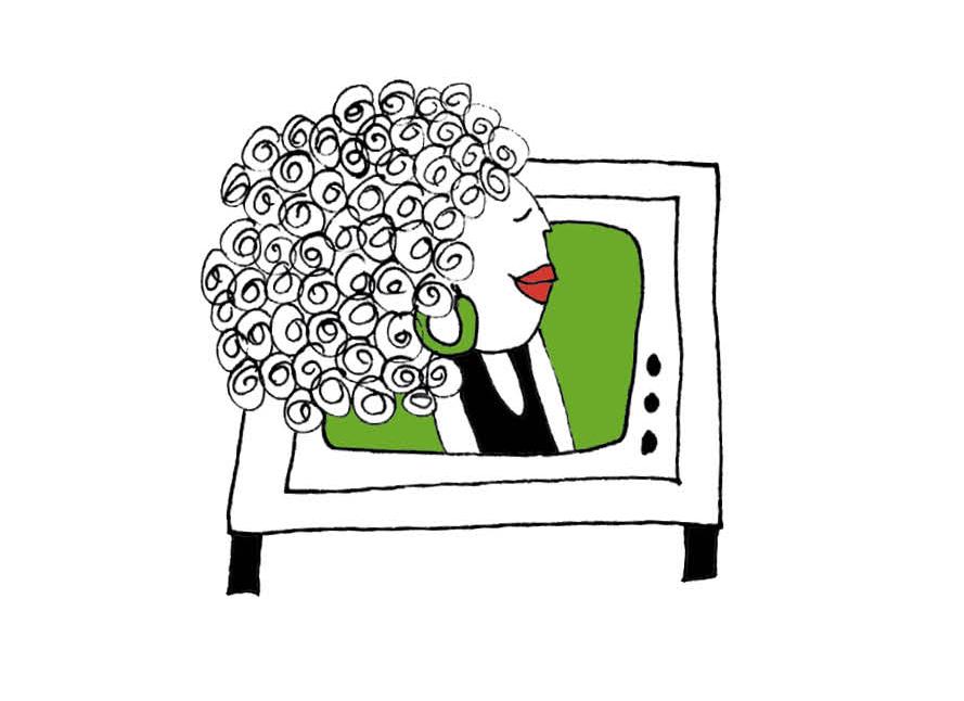 Illustratie van een vrouw in een TV