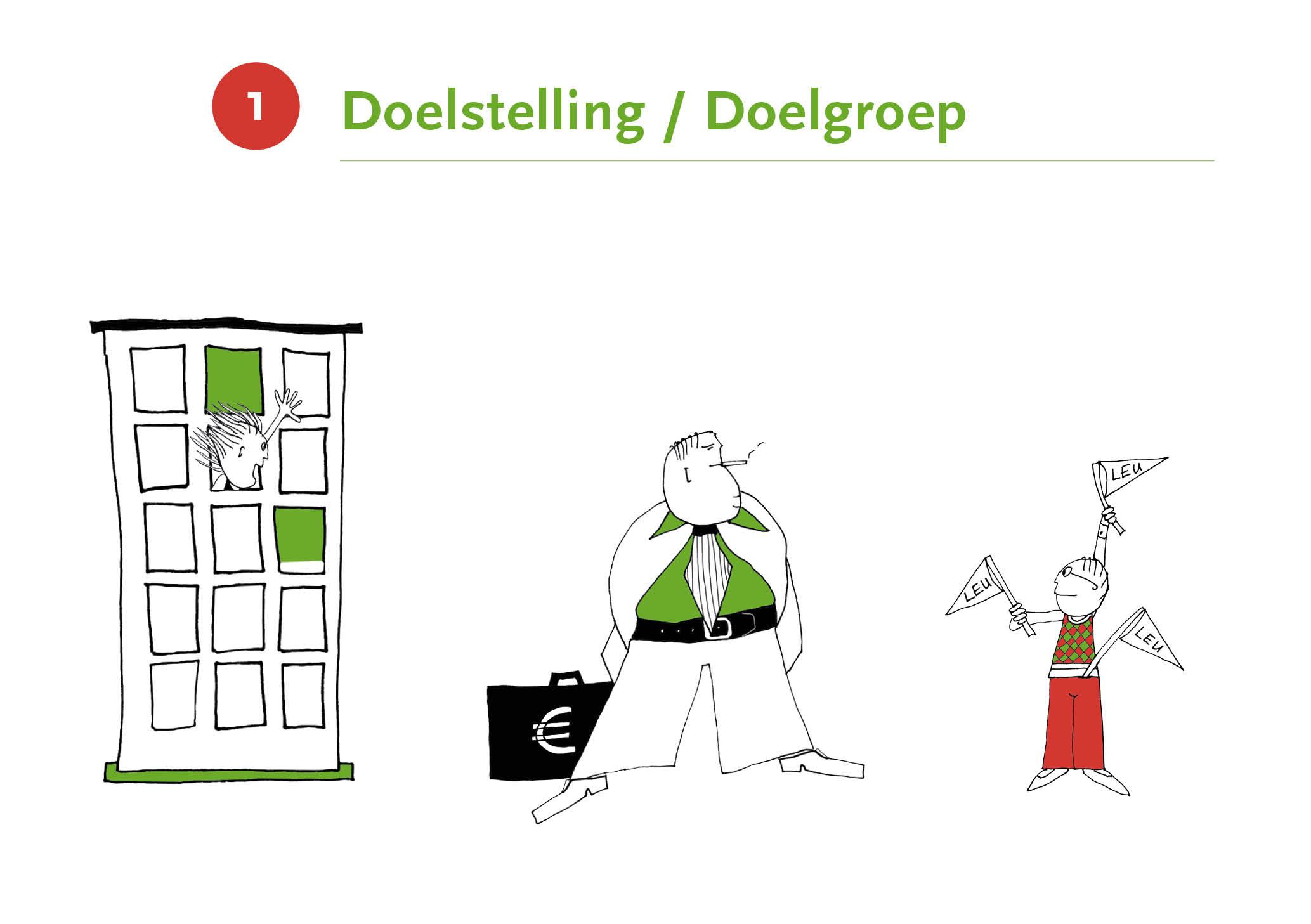 Illustratie met als titel 'Doelstelling/Doelgroep'
