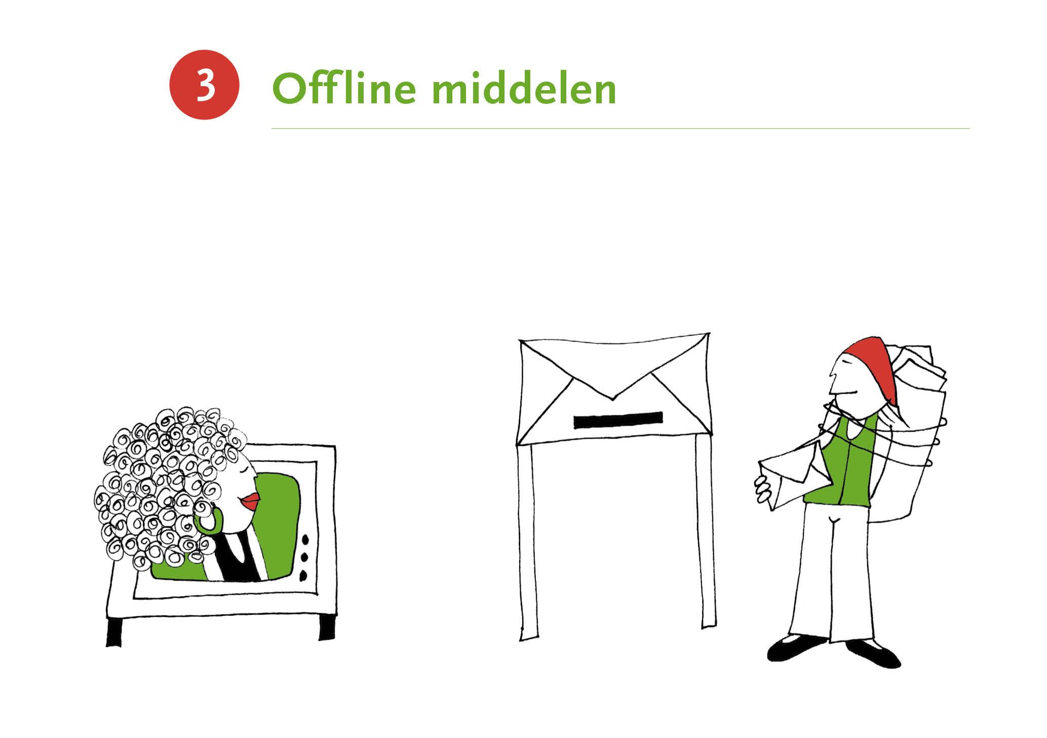 Illustratie met als titel 'Offline middelen'