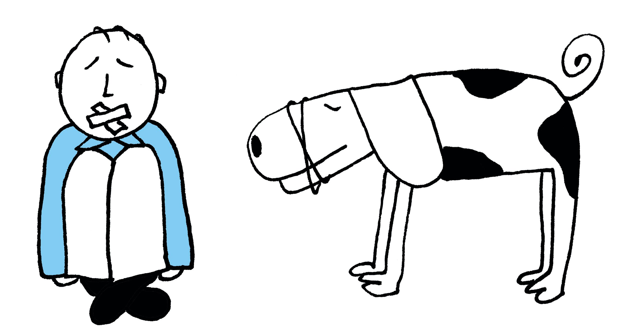 Remonstranten Geloof begint bij jou_tekening man met hond