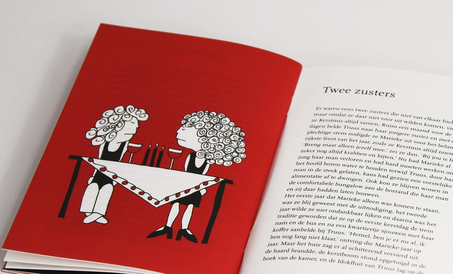 Kerstverhaal rode boekje zusters aan tafel