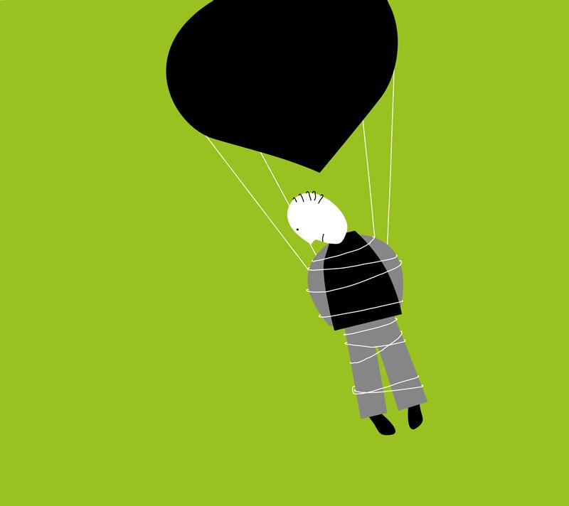 Illustratie man zwevend aan ballon