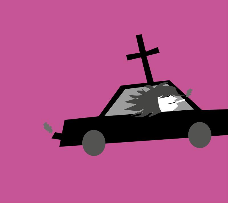 Illustratie: Jezus in een amerikaanse slee