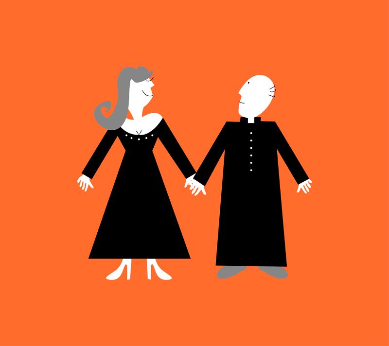 Illustratie: mannelijke en vrouwelijke dominee vinden elkaar leuk