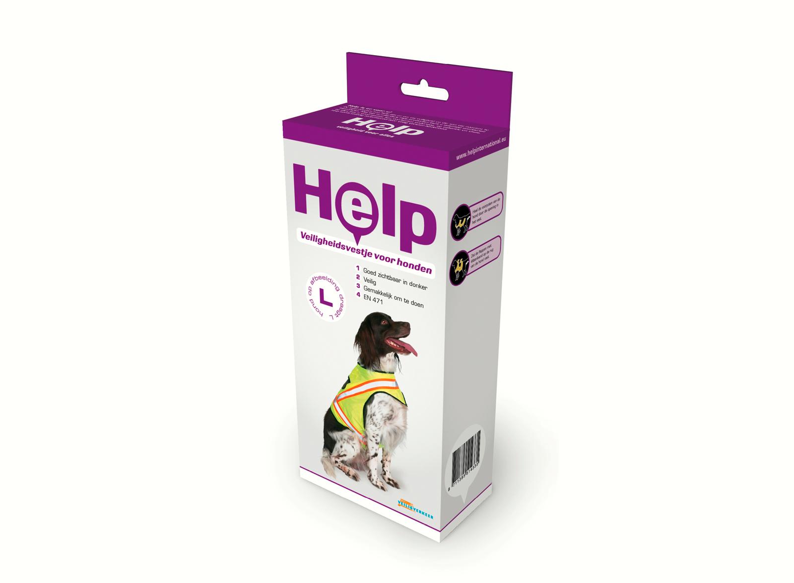 Help verpakking voor een veiligheidsvestje voor een hond
