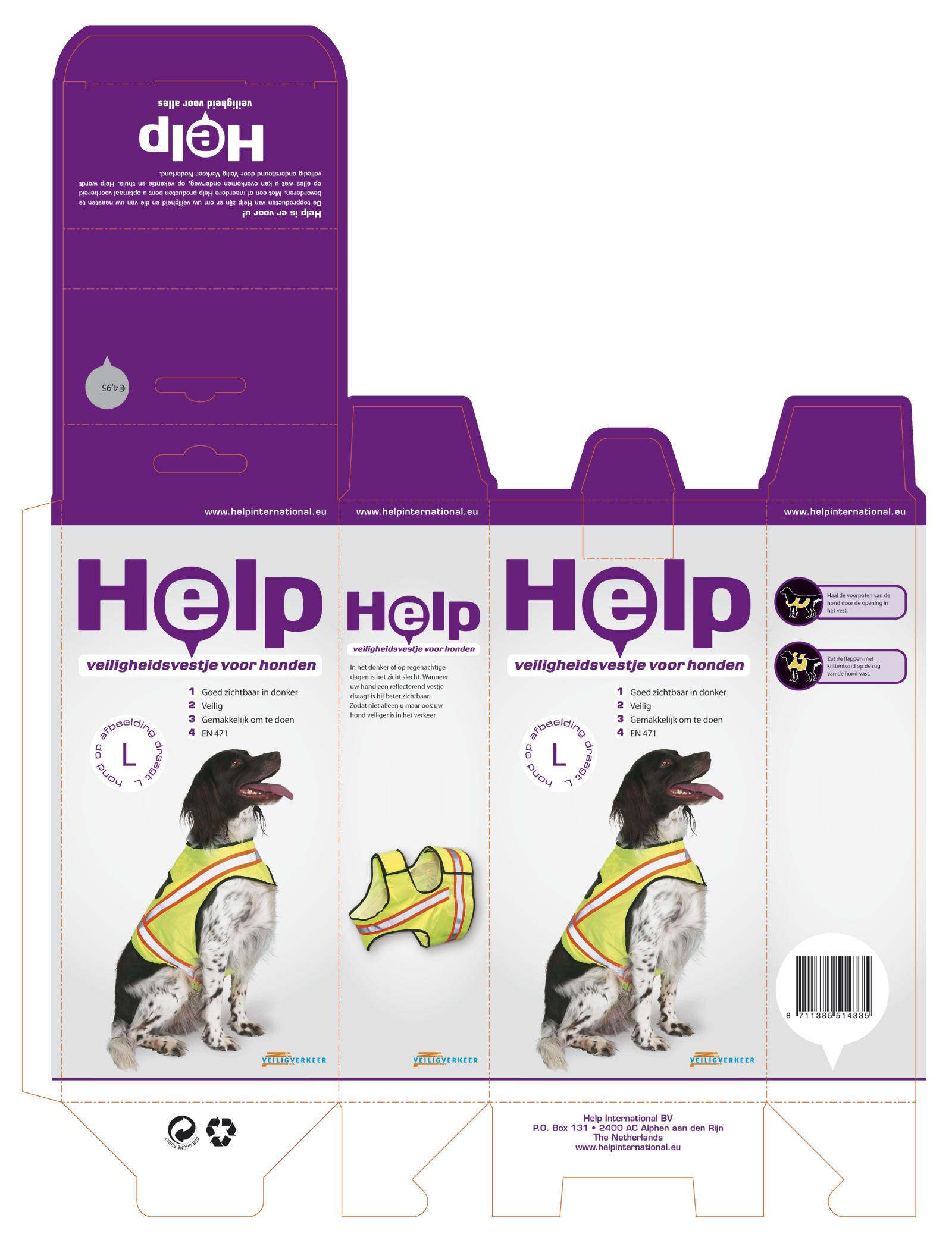 Help verpakking uitgevouwen
