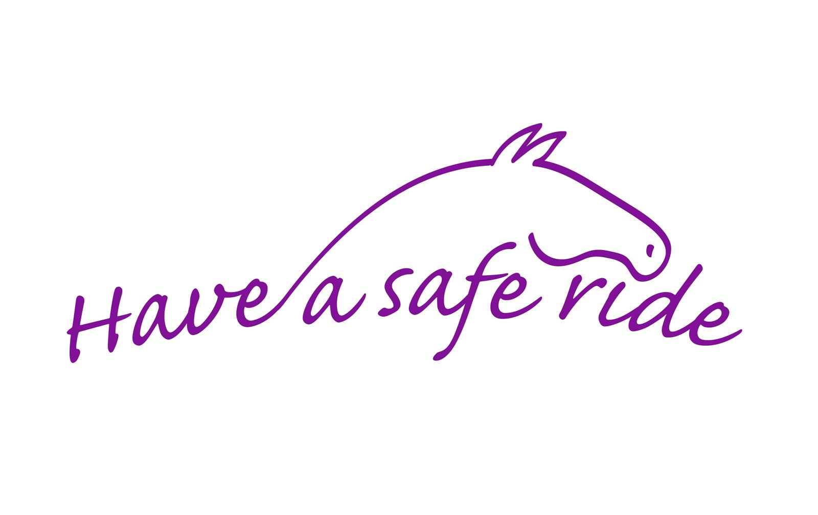 'Have a safe ride', een logo-voorstel voor Help-paardenartikelen die nooit in gebruik is genomen