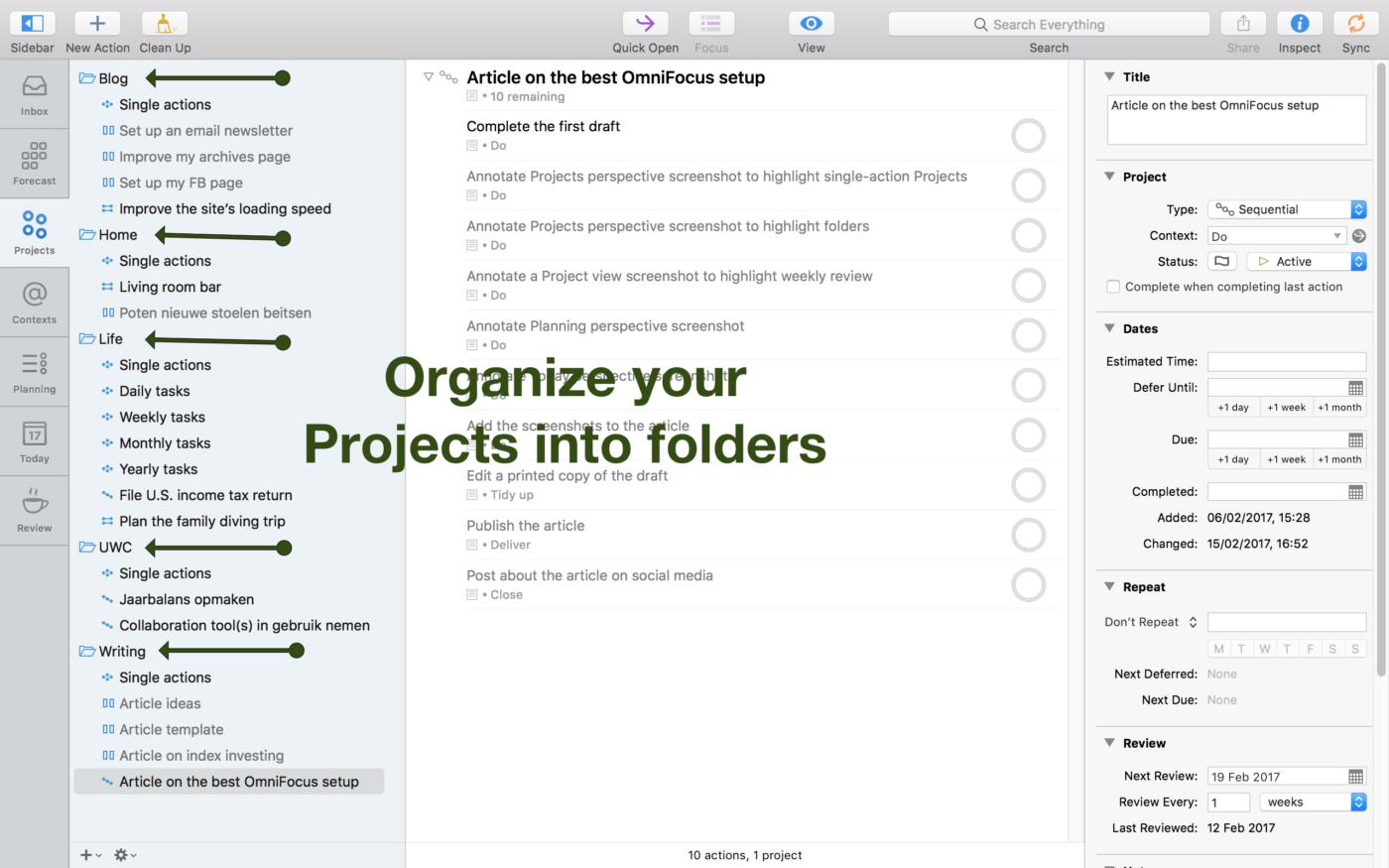 Screenshot of my Projects organized into folders.
