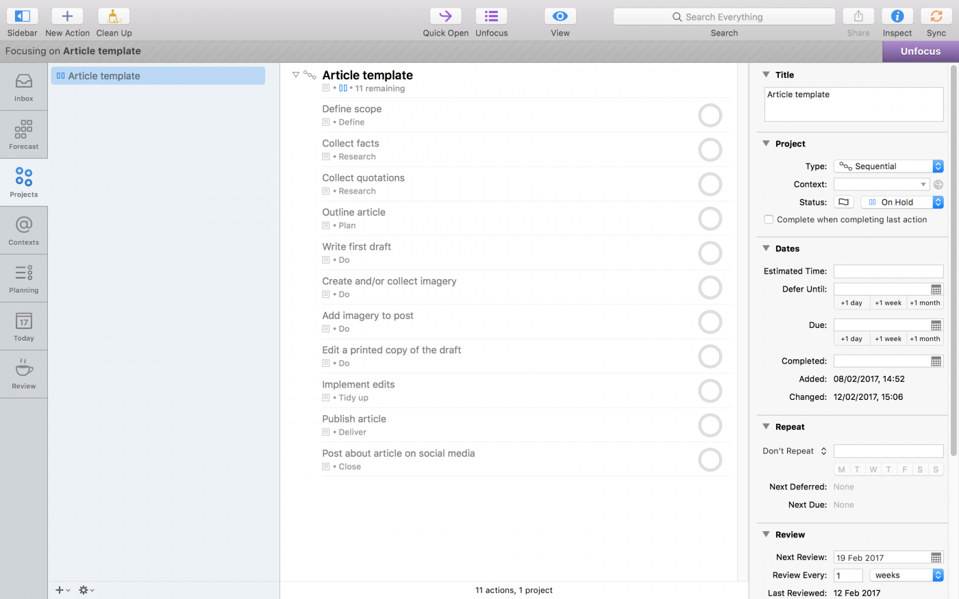 A screenshot of my article template Project.
