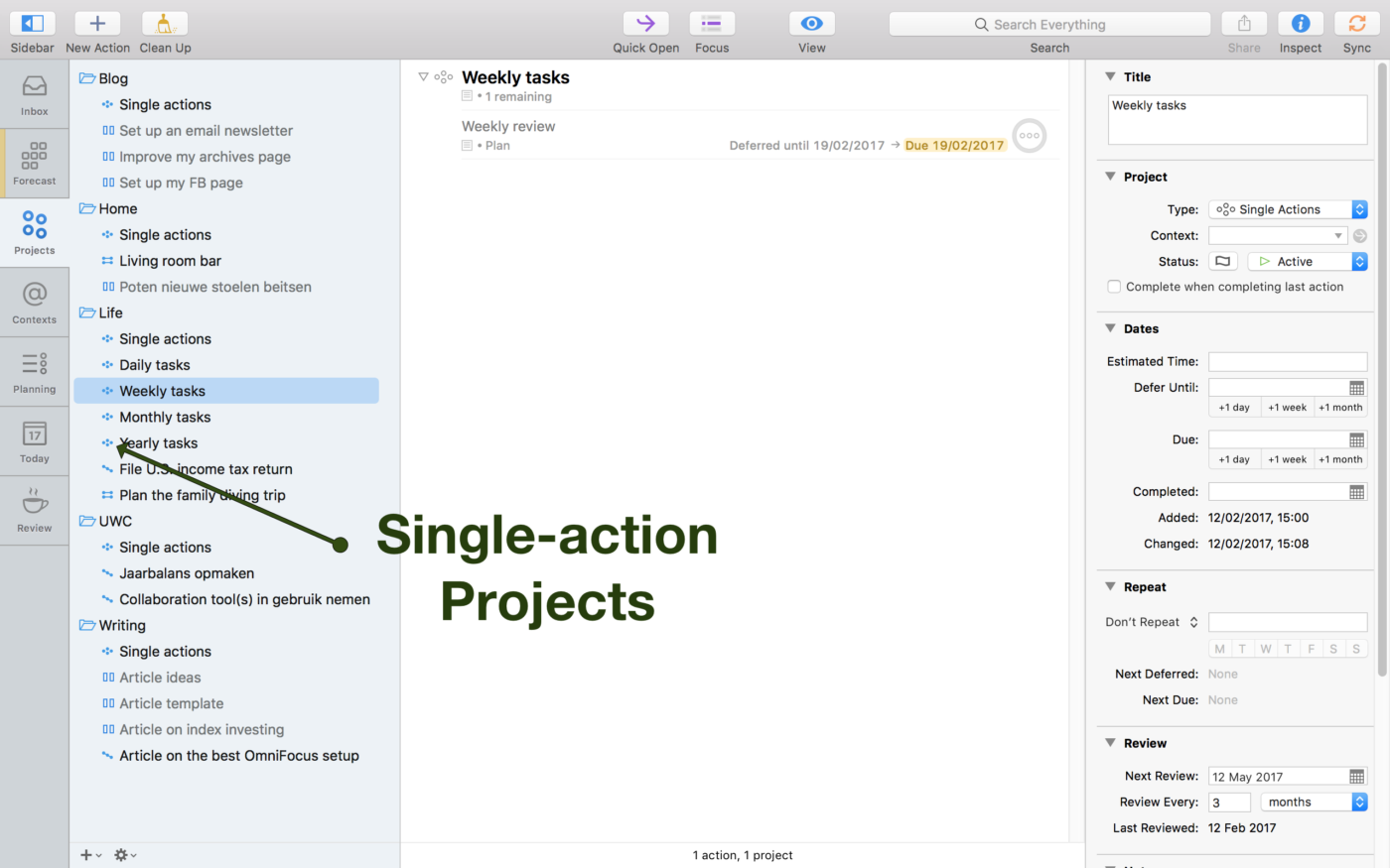 Screenshot emphasizing single-action Projects