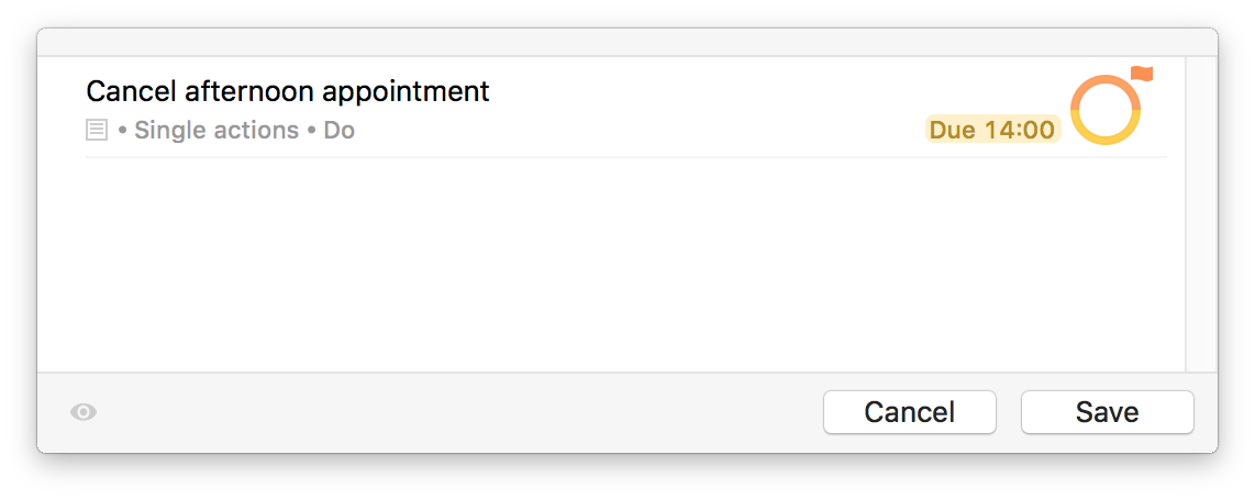 Screenshot of Quick Entry cancel appointment example