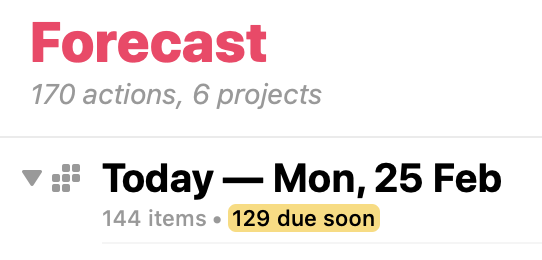 The OmniFocus Forecast view, showing 129 items due soon.