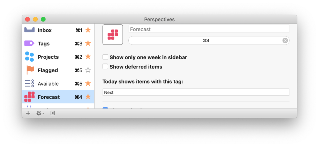 The OmniFocus settings pane, showing the Today shows items with this tag feature.