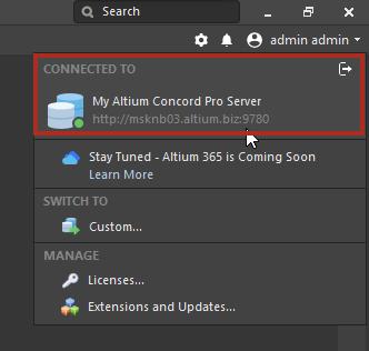 Altium Concord Pro Работа с сервером
