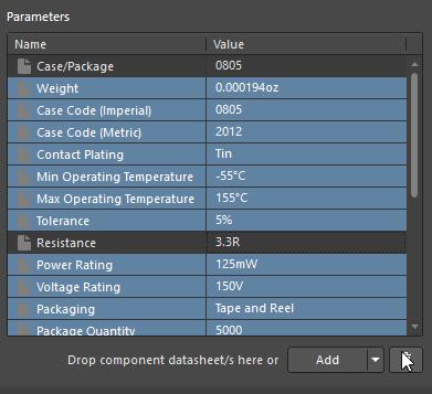 Altium Concord Pro параметры компонента