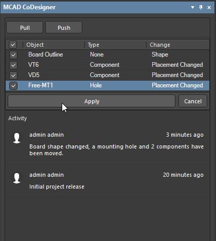 Altium Concord Pro MCAD CoDesigner изменения в проекте