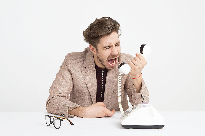Angry man on phone