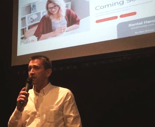 Ben pitching at Silicon Beach Melbourne