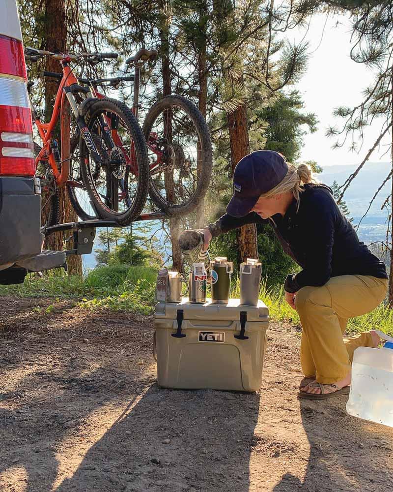 Using a jetboil to brew coffee on a biking trip
