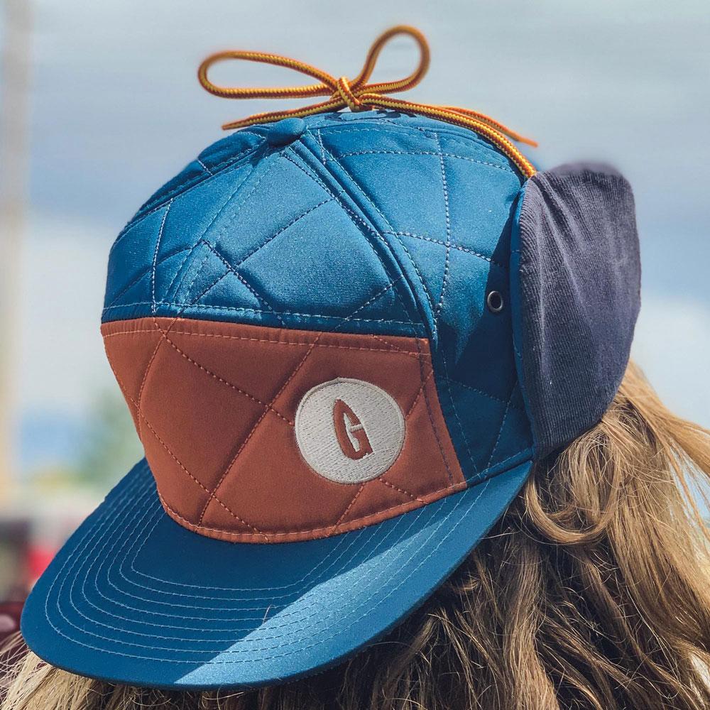 Quilted Hat, Teal & Orange
