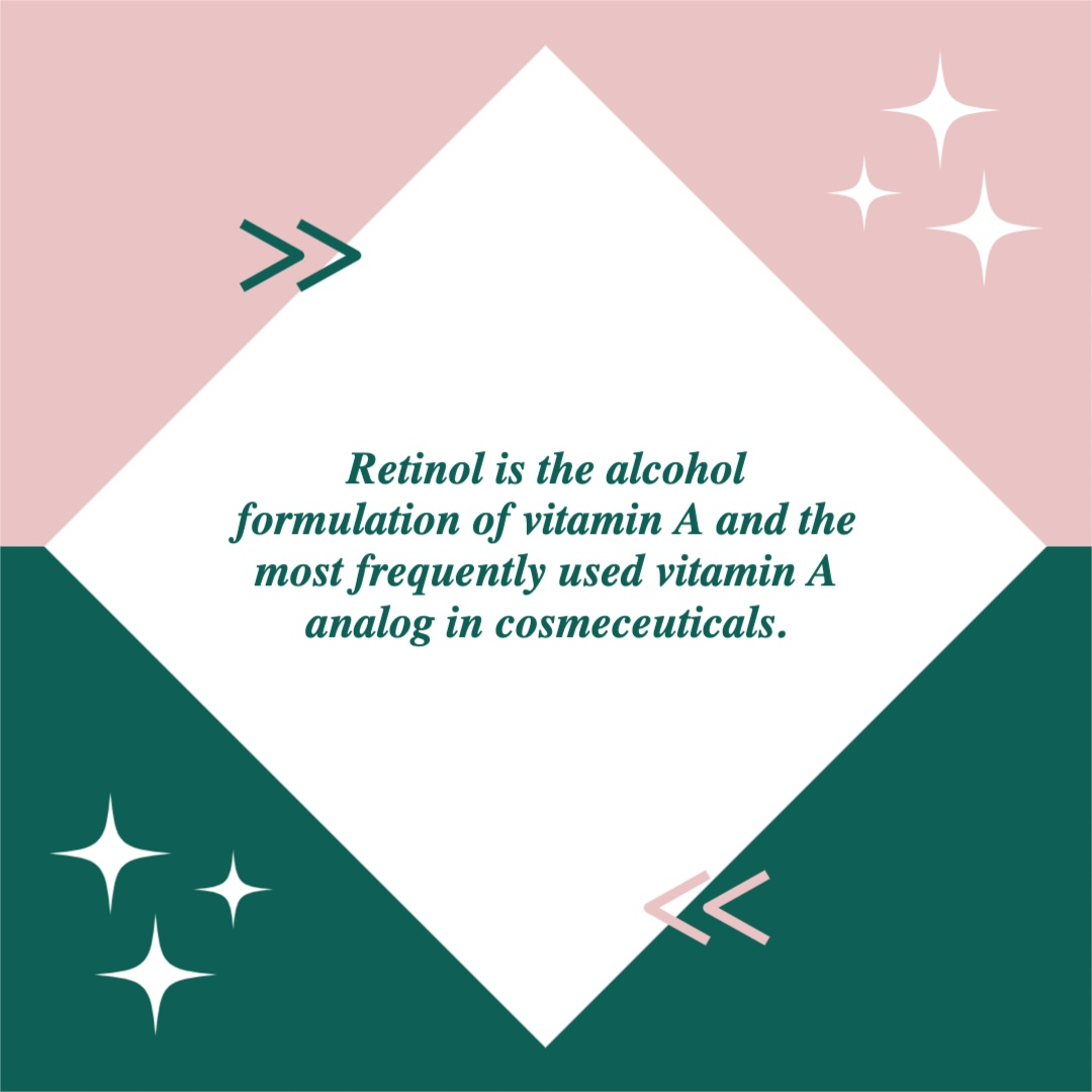 The second image in a carousel. It reads: Retinol is the alcohol formulation of vitamin A and the most frequently used vitamin A analog in cosmeceuticals