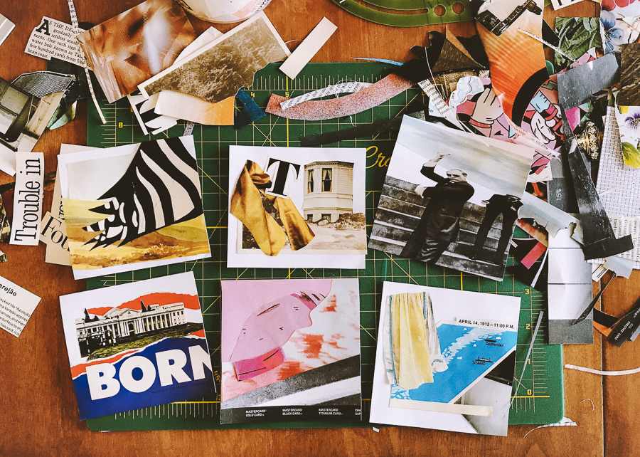 A messy table is filled with magazine scraps and six small square collage compositions