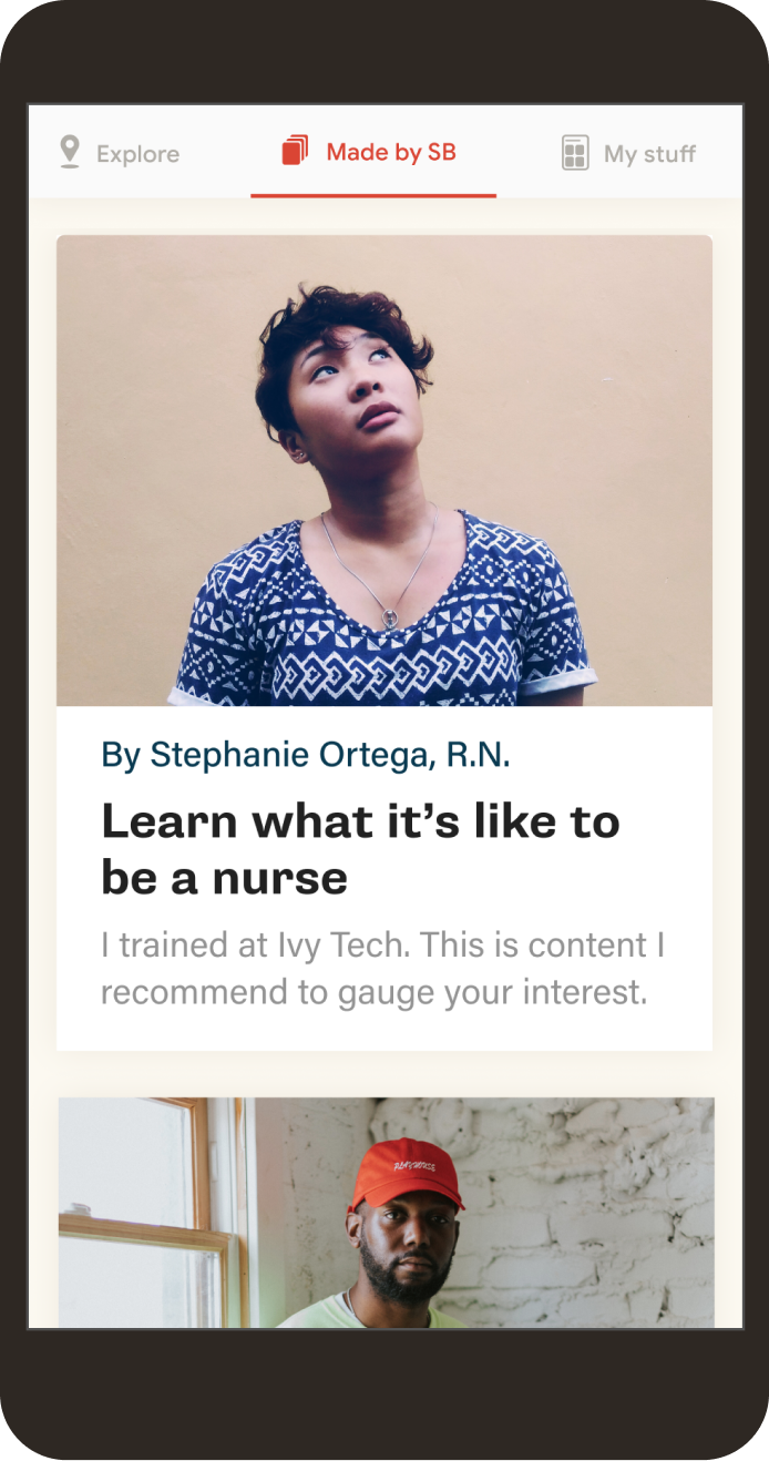"A phone screen showing an article that reads, ""Learn what it's like to be a nurse, by Stephanie Ortega, R.N."""