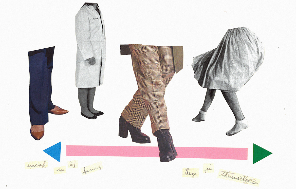 A collage on a white background. Legs from different eras are cut out and arrange on a pink line with arrows on either end.
