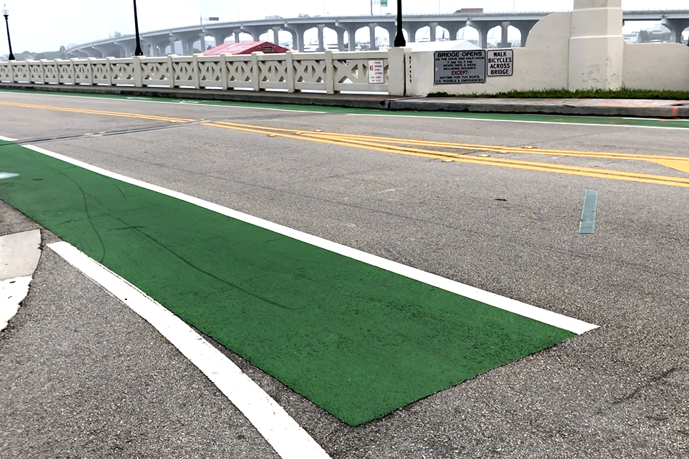 The bike lane on the Venetian Causeway ends abruptly in the City of Miami