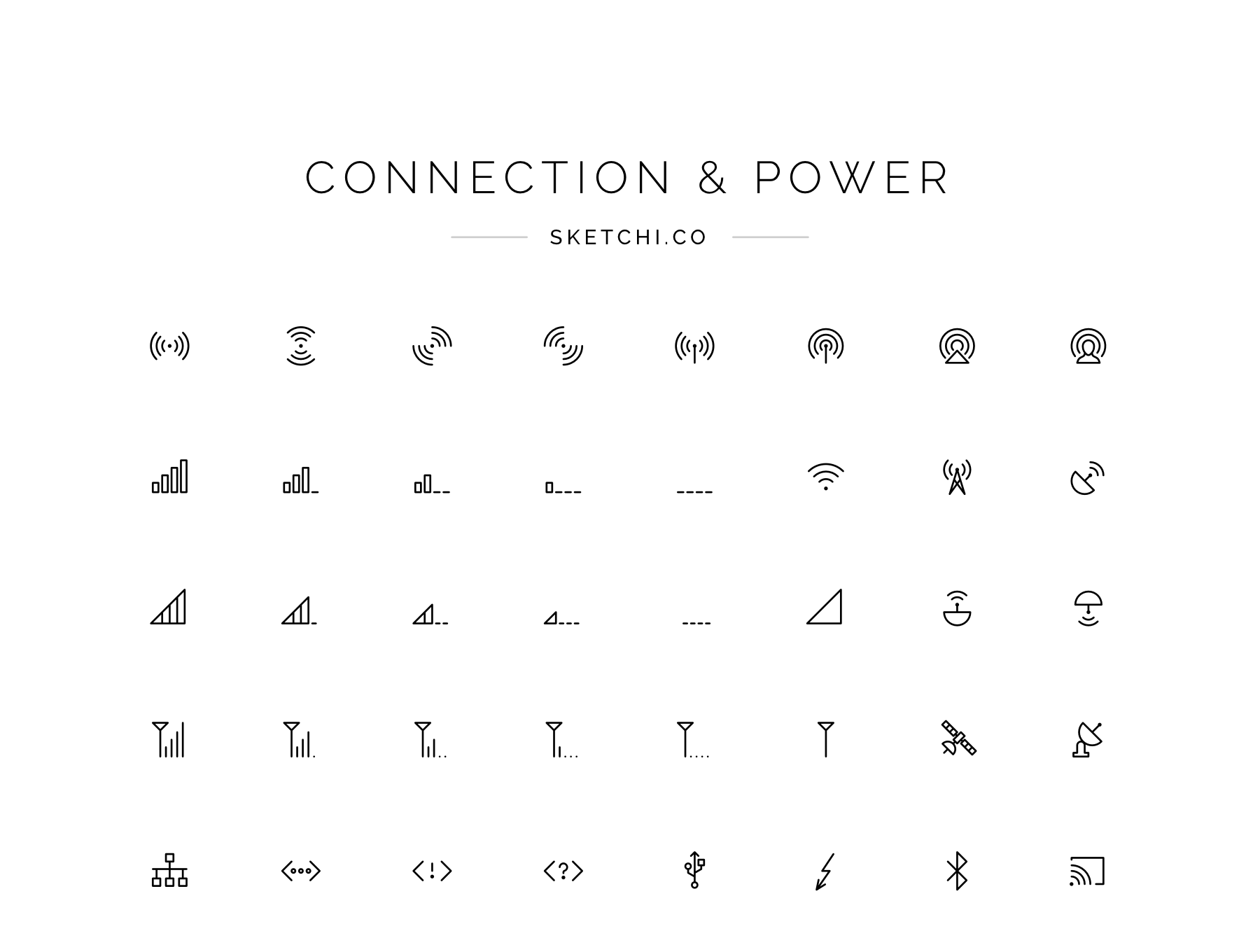 Connection and power icons