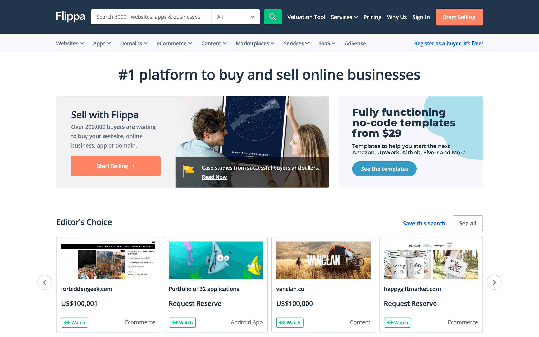 Website flipping online service