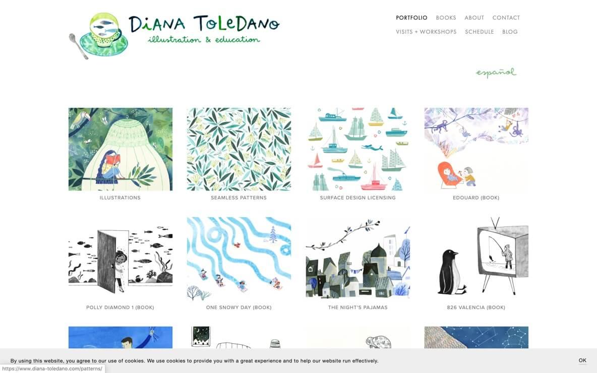 Diana Toledano illustration portfolio website